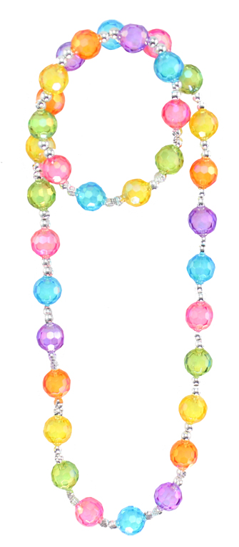 Multi-color Bubblegum Bead Necklace and Bracelet Set