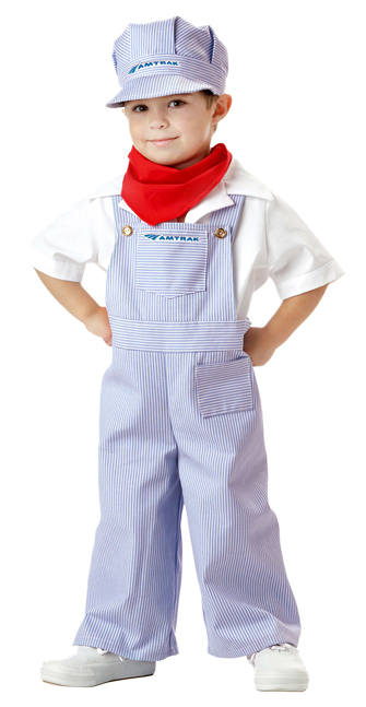Amtrak Train Engineer Costume with Full Overalls