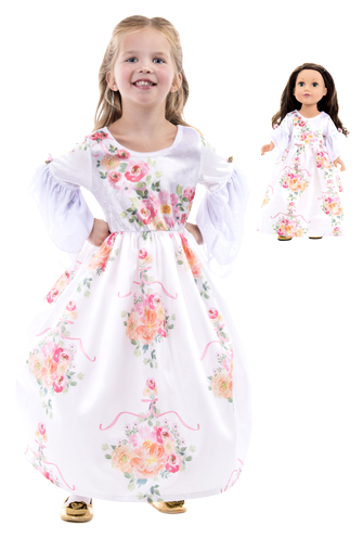 White Beauty Child and Doll Wedding Dress Set