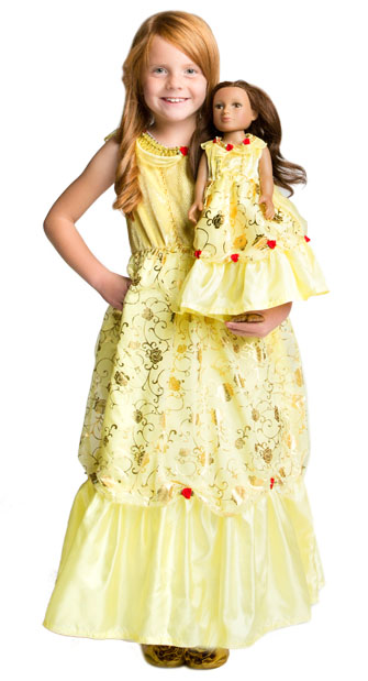 Yellow Beauty Child and Doll Dress Set - Tank Sleeves Style