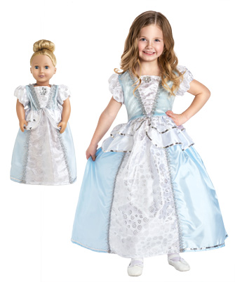 Sparkles and Swirls Cinderella Child and Doll Dress Set