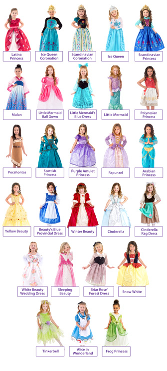 Create a Set of 5 Classic Movie Princess Dresses