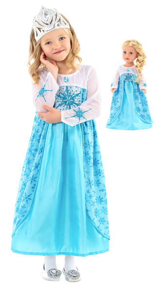 Ice Queen Child and Doll Dress Set