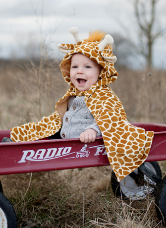 Toddler Giraffe Cape with Attached Hood
