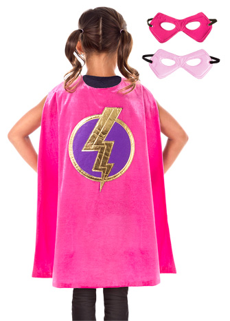 Pink Hero Cape with Reversible Mask