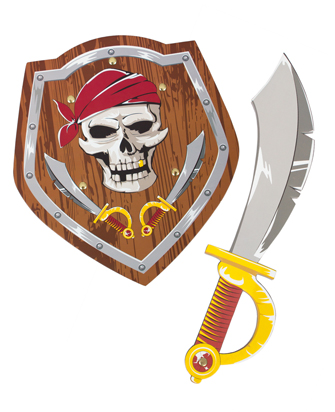 Gold-Toothed Pirate Sword and Shield Set