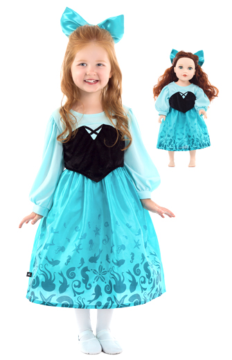 Little Mermaid's Blue Lagoon Dress for Child and Doll