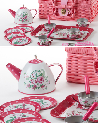 Pink Paisley Tin Tea Set with Basket