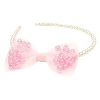 Pearly Perfect Pink Bow Headband