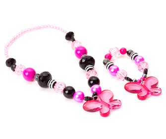 Pink and Black Butterfly Chunky Necklace and Bracelet Jewelry Set