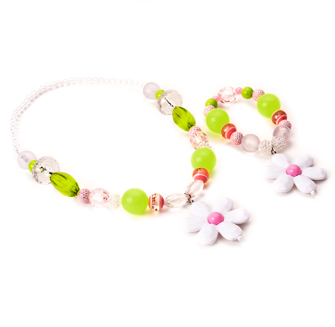 Pink and Lime Flower Chunky Necklace and Bracelet Jewelry Set