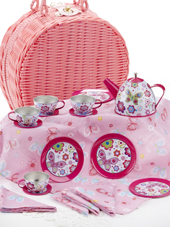Child's Tin Tea Set with Butterflies in Basket