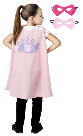 Pink Princess Crown Cape and Mask Set