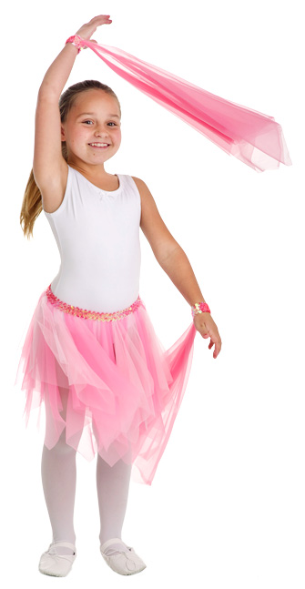 Pink Fairy Skirt with a pair of Wrist Scarves