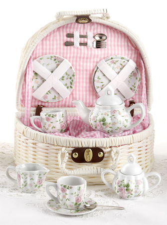 Girl's Porcelain Pink Chintz Flower Tea Set with Basket