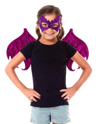 Pink and Purple Reversible Dragon Wings and Mask