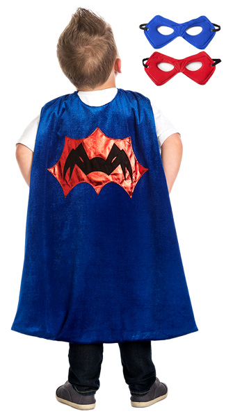 Blue Spider Cape with Reversible Mask