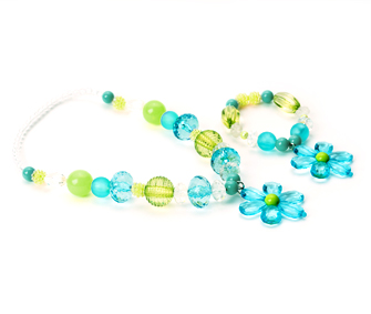 Teal and Lime Flower Chunky Necklace and Bracelet Jewelry Set