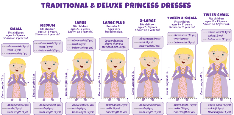 Littledressupshop Boys And Girls Dress Up And Costume Size Charts