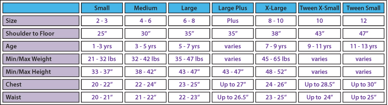 Littledressupshopcom Boys And Girls Dress Up And Costume Size Charts